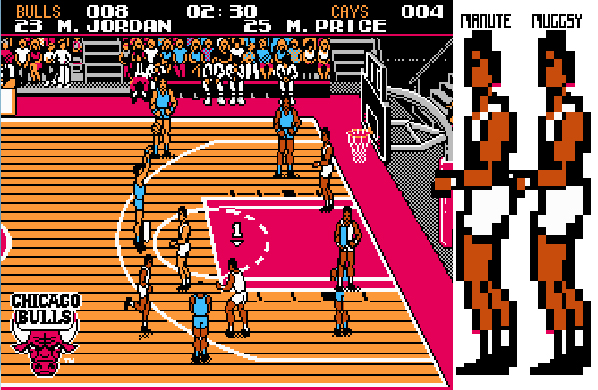 Muggsy and Manute on Tecmo NBA